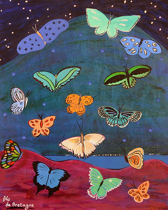 on a dark blue sky with stars, a huge mountain above a lake and butterflies fluttering everywhere