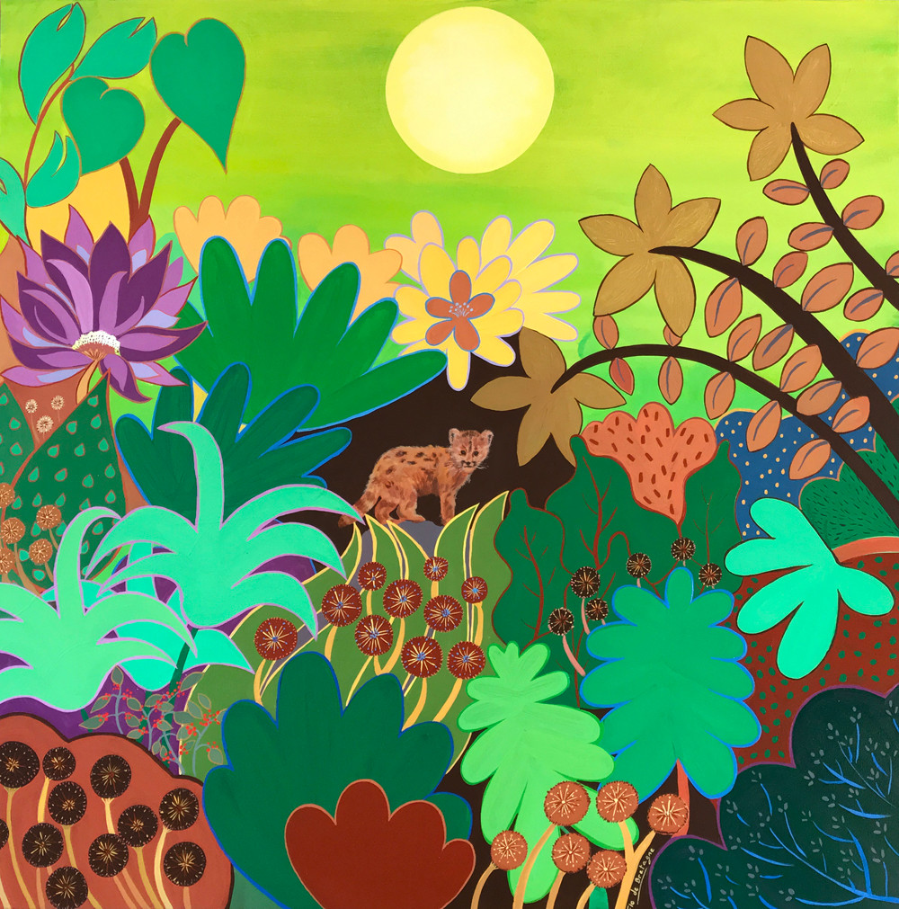 this large square painting depicts a very large sun above a jungle forest with a small cub staring at you and standing in the midst of all the tropical plants