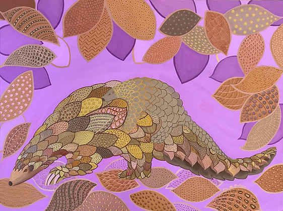 a painting of a mama pangolin carrying her baby on her back and trying to camouflage in the leaves. Purple and gold