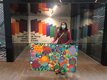 Flo de bretagne is dropping off her painting at the De Young Museum in San Francisco