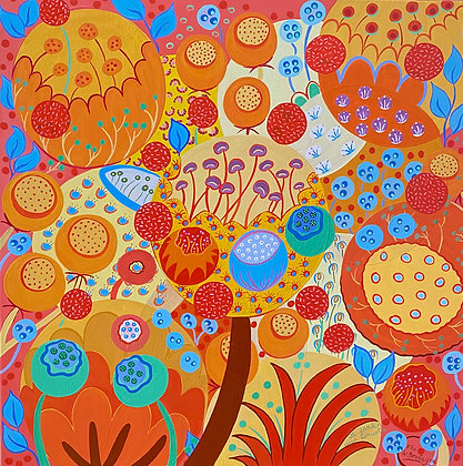 square painting with a dominant of orange, red and yellow tones, and a few blue and green hints. An apricots garden