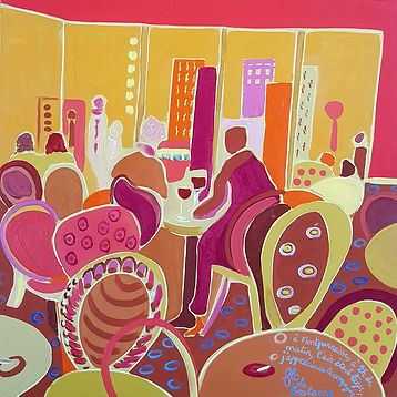 A square painting that represents a café in the Montparnasse district in Paris