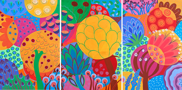 a triptych painting with three panels where large bubbles are filled with seeds in candy colors representing flowers, plants