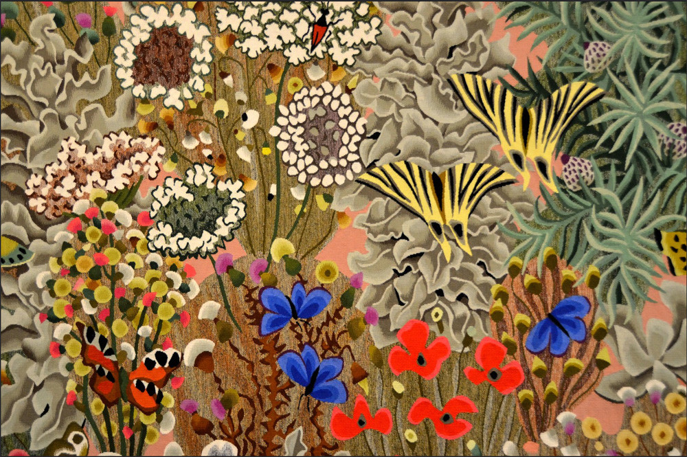 a tapestry by Dom Robert that depicts a luxurious garden with many colorful flowers and plants