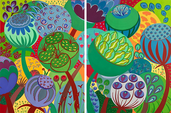 a diptych painting that depicts big bold bubbles with red and green tones which represent whimsical flowers and seeds