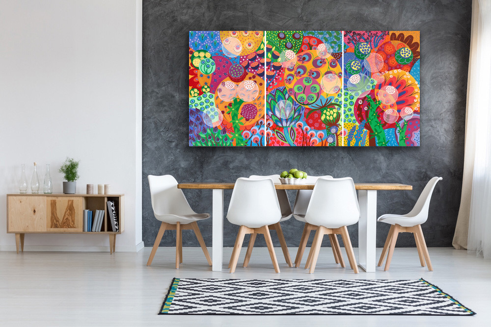 a triptych painting that represents a luxurious garden filled with imaginary and whimsical flowers, lots of colors and bubbles which look like seeds