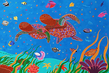 a painting with vibrant blues depicting two turtles swimming together in the deep sea and surrounded with tens of colorful fishes