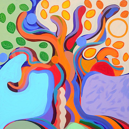 The painting of a tree divided in 4 areas: blue, green, yellow and purple inspired by artist Niki de Saint Phalle.