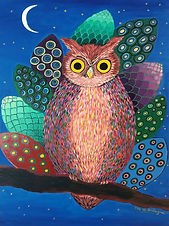 painting of an owl with her eyes wide open and staring at you, by artist flo de bretagne