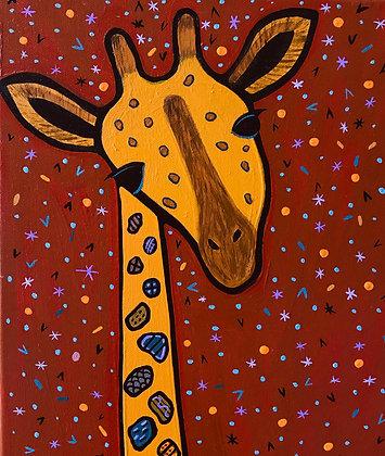 closeup on  a painting of a pretty giraffe