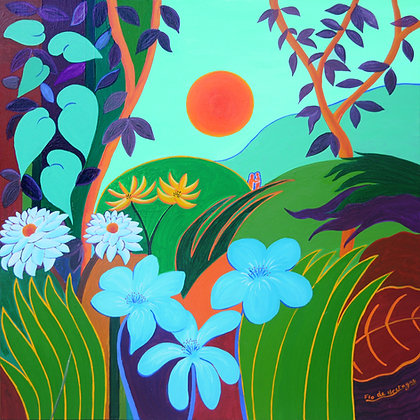 A tiny couple hides in a deep forest with green and blue tones. A large orange sun is shining. Inspired by artist Rousseau.