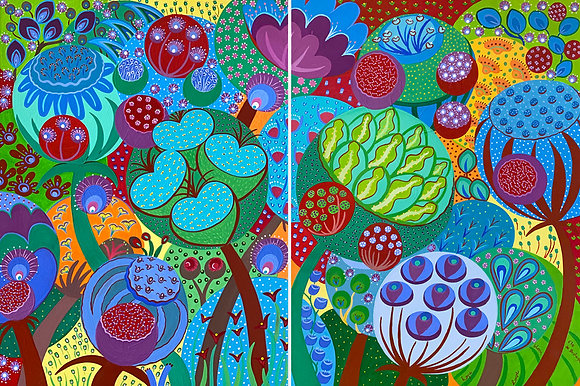 A diptych abstract painting with vibrant colors that represents big plants and flowers filed with seeds