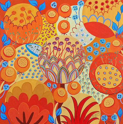 Abstract square painting with vibrant colors, mostly orange, yellow and a little bit of blue which represents seeds
