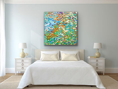 an abstract painting with hundreads of brush strokes representing a symphony is hanging ona light blue wall above a queen size bed