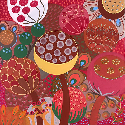 a dark red background enhances the whimsical flowers and seeds in this square painting called the Dandelions