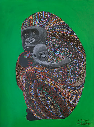 a portrait painting of a mother gorilla holding tight to her baby. Scared face. Beautiful patterns. Green and dark grey