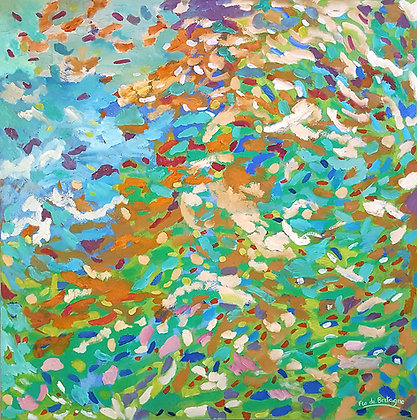 """Lots of brush strokes in a harmony of blues and greens for this oil painting called a """"Symphony of Colors"""""""