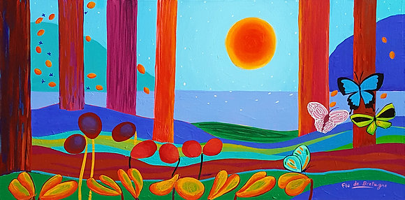A large sun beaming in the sky above high mountains. Straight red tree trunks, four butterflies flying over whimsical flowers