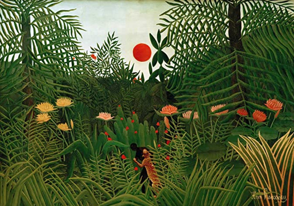 painting by French artist Rousseau depicting animals in the jungle. A leopard and a black man are fighting in the midst of big plants