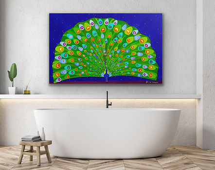 a vibrant painting with deep blues and greens representing a peacock opening his tail is hanging above a bath tub
