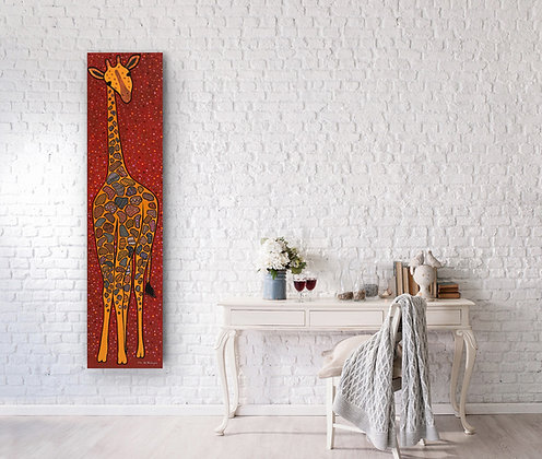 a tall painting featuring a giraffe is hanging next to a wooden table