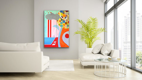 a diptych painting representing a pool, a plane and a colorful garden hangs on a grey wall next to a white sofa and plants