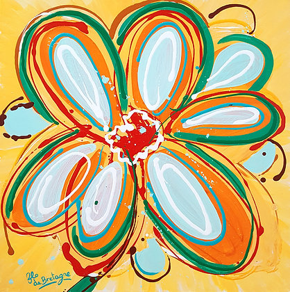 a medium square painting that represents an uplifting flower opening wide on a yellow background