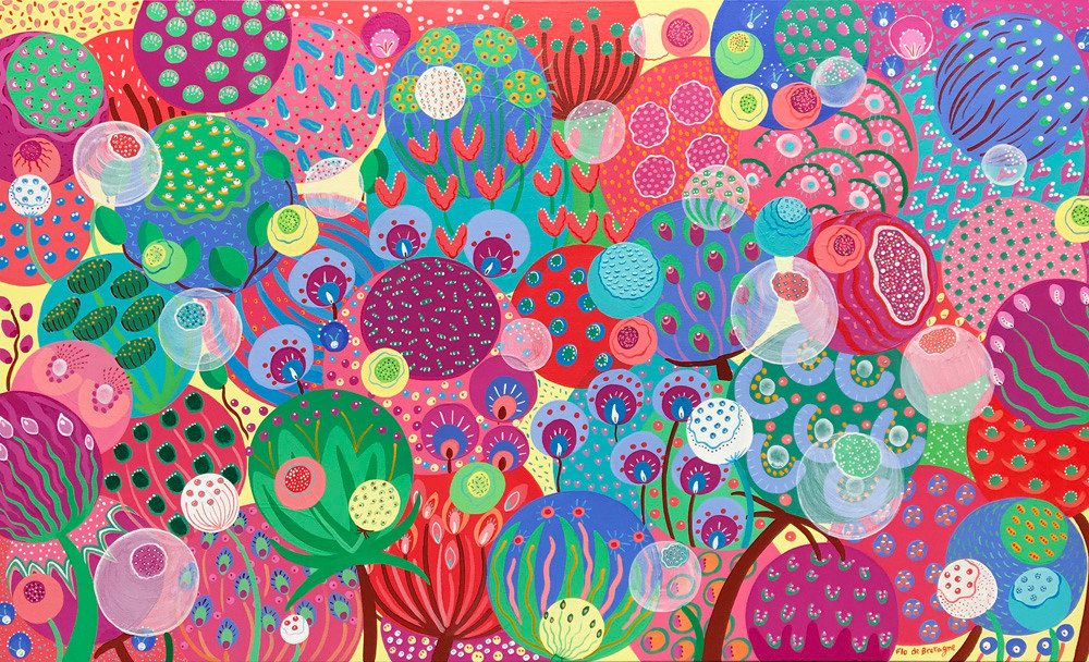 a large landscape acrylic painting that depicts a colorful garden with tens of imaginary and abstract flowers. Pink flowers and purple flowers, blue flowers and green flowers