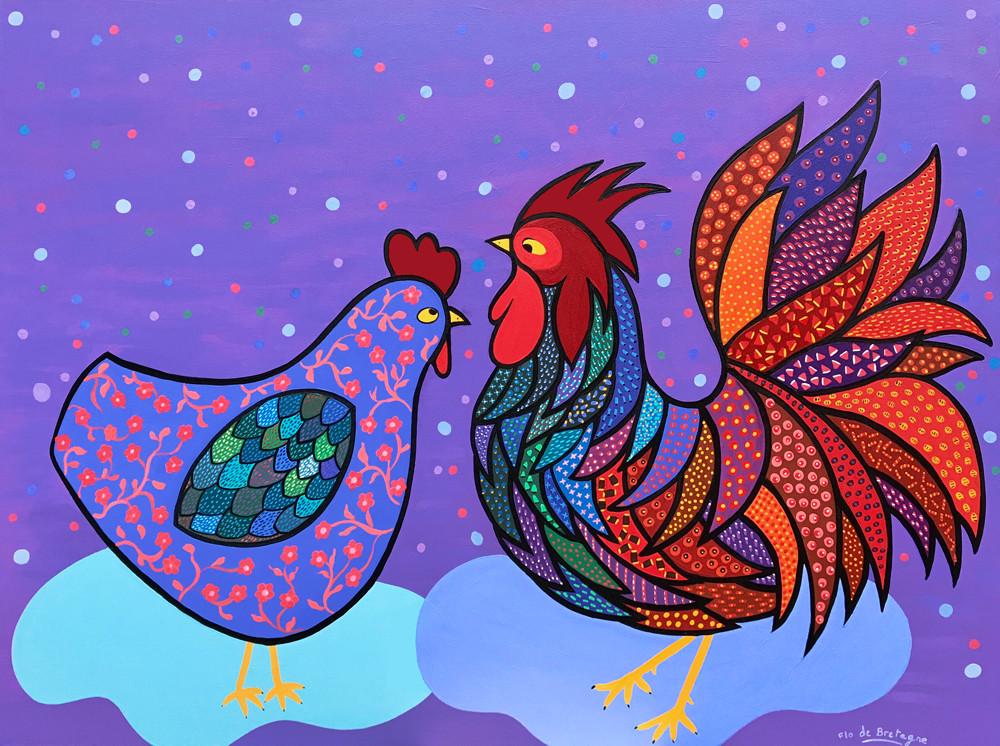 a contemporary painting depicting a proud rooster and a pretty hen on a purple background