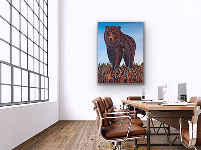 a portrait painting of big brown bear is hanging in a meeting room with a large table and leather chairs