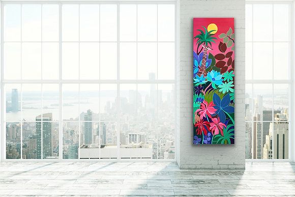 a loft with large bay windows and white bricks walls with a tall painting of a colorful giraffe and tropical plants