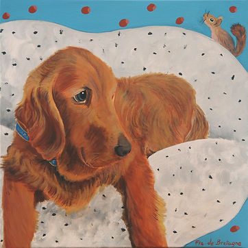 square pet portrait representing a golden retriever lying on a dotted pillow and a little squirrel running around him