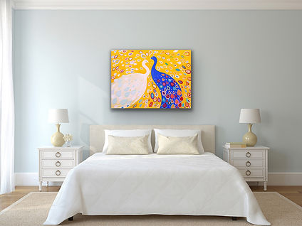 A colorful painting of two peacocks in love is hanging above a queen size bed on a light blue wall