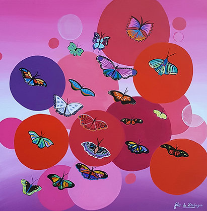 this painting depicts red, purple and pink bubbles with butterflies fluttering happily in front of the bubbles