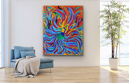 a large portrait of a peacock with hundreads of colorful feathers is hanging ona  white wall next to a light blue couch and an indoor plant