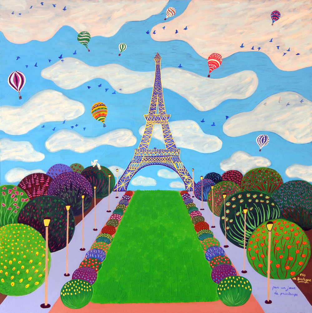 a square painting representing the Eiffel tower with tens of hot air balloons in the sky and pretty flower bushes at the bottom
