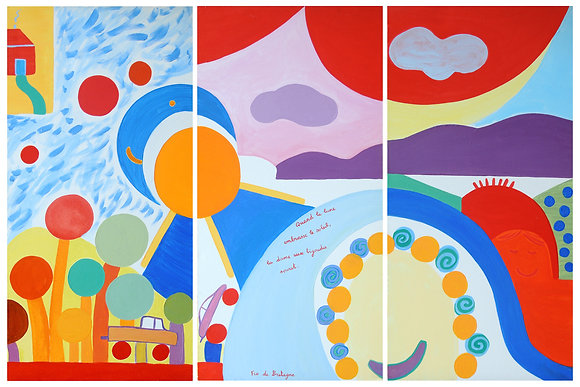 this painting made of three panels is very cheerful. The moon seems to kiss the sun, a red sky, lollipop trees