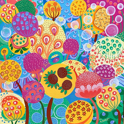 sqaure painting representing large colorful bubbles filled with seeds that depict imaginary flowers and fruitful plants