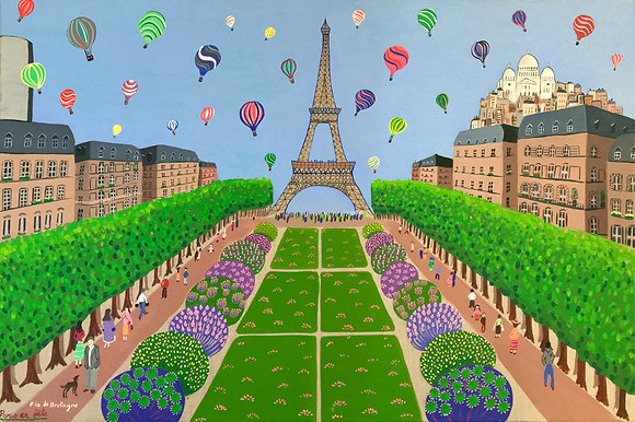 A festive view of the Champ de Mars near the Eiffel Tower with lots of tiny people, hot air balloons and colorful flowers