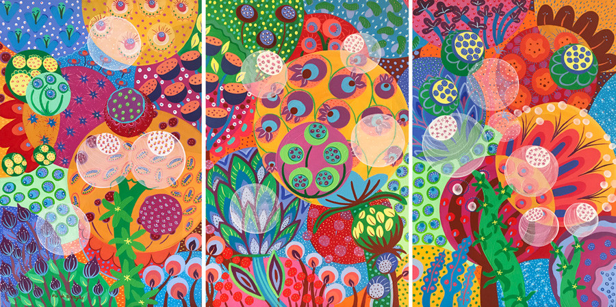 a triptych painting representing seeds and flowers with vibrant colors blooming in the spring