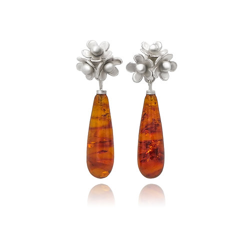 Amber and Silver Cluster Stud Earrings
