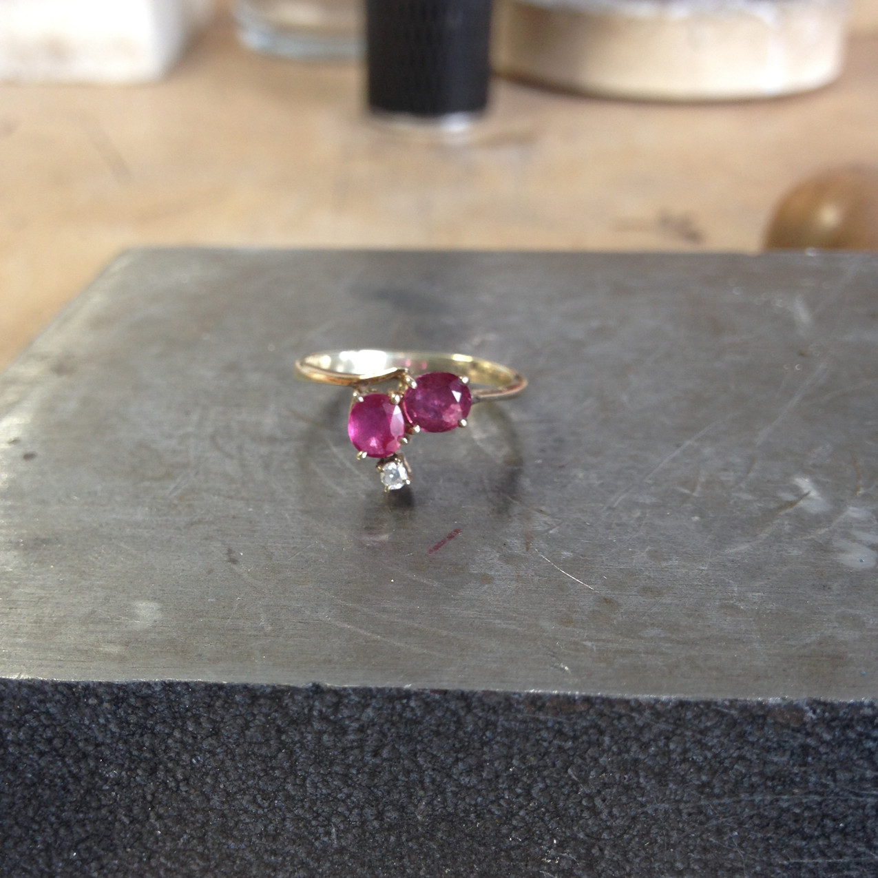 An antique 9ct gold and ruby diamond ring, ready for remodelling.
