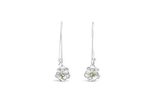 Peridot Floral Earwires
