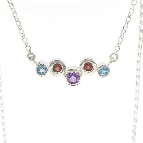 Colourful Silver Gemstone Necklace