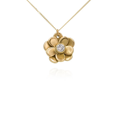 18ct yellow gold and diamond flower Pendant