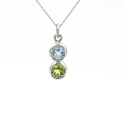 Blue Topaz & Peridot Gemstone Necklace
