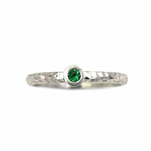 Textured Gemstone Engagement Ring