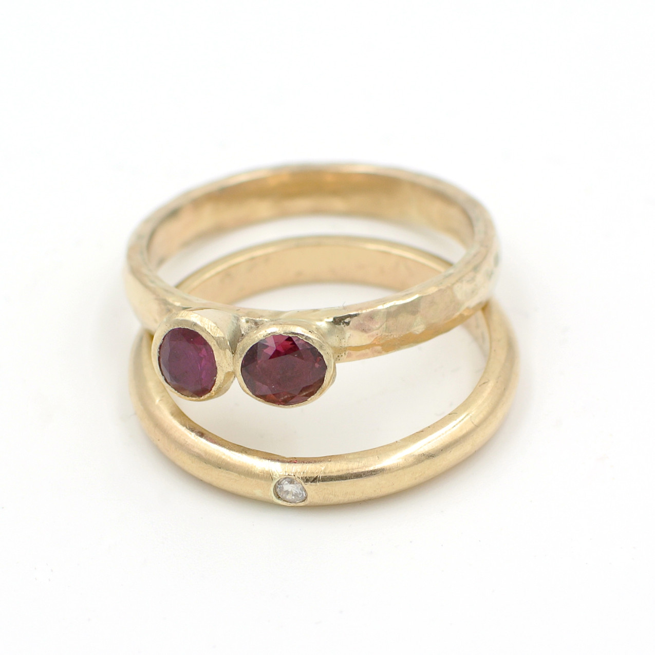 Remodelling old gold with original ruby and diamond stones into a contemporary style gold ring.