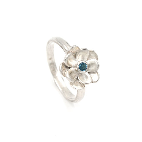 Silver Flower and  Topaz Ring