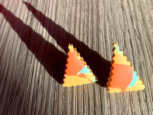 Ruffled Edge Triangle Earrings